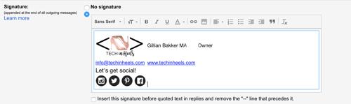 Setting up a Gmail signature