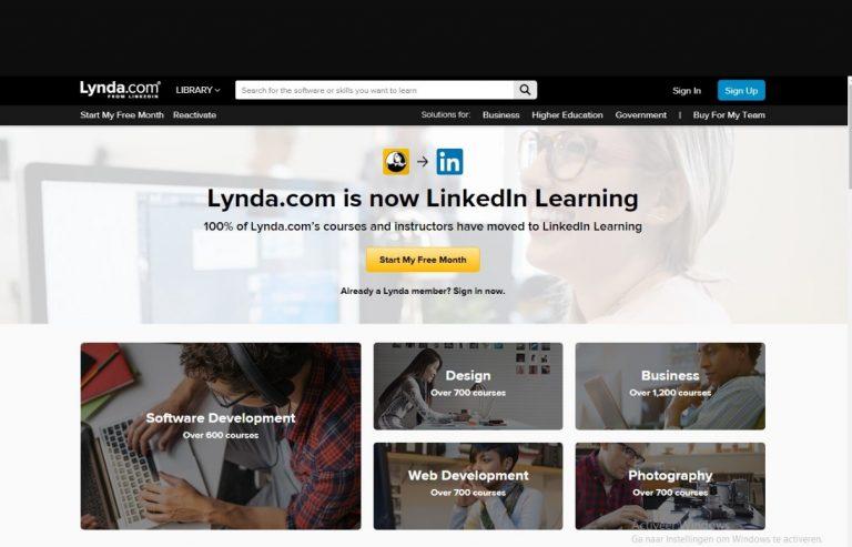 LinkedIn Learning Lynda.com login screen desktop